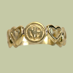 1532 7 Heart Ring with the 7 Heart Ring with the Narcotics Anonymous Logo.