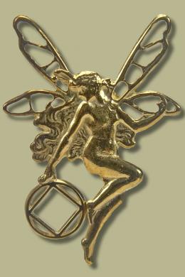 2052 Fairy Pendant Pendant with Narcotics Anonymous Logo.