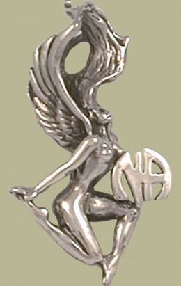 072 Winged Woman W Narcotics Anonymous Logo Pendant