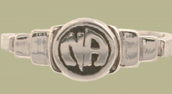 1522 Stepped Ring w Narcotics Anonymous Logo