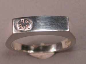 1564 Mens Signet Ring w Narcotics Anonymous Logo