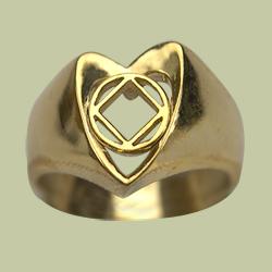 1581 Heart Ring w NA Service Symbol