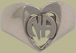 1582 Heart Ring w Narcotics Anonymous Logo
