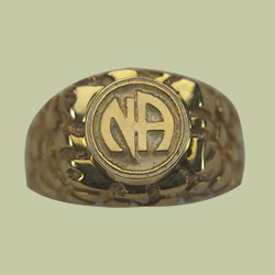 1592 Nugget Ring w Narcotics Anonymous Logo